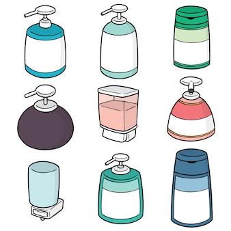 Vektor-set von shampoo und flüssigseife flasche