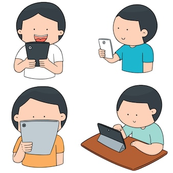 Vektor-set von smartphone-sucht