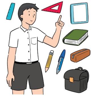 Vektor-set von studenten und schreibwaren
