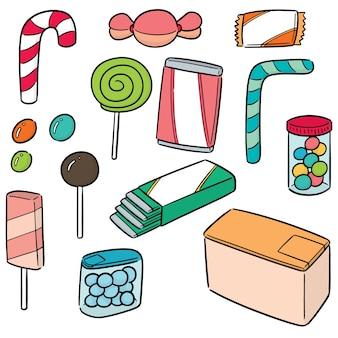 Vektor-set von süßigkeiten und süßigkeiten