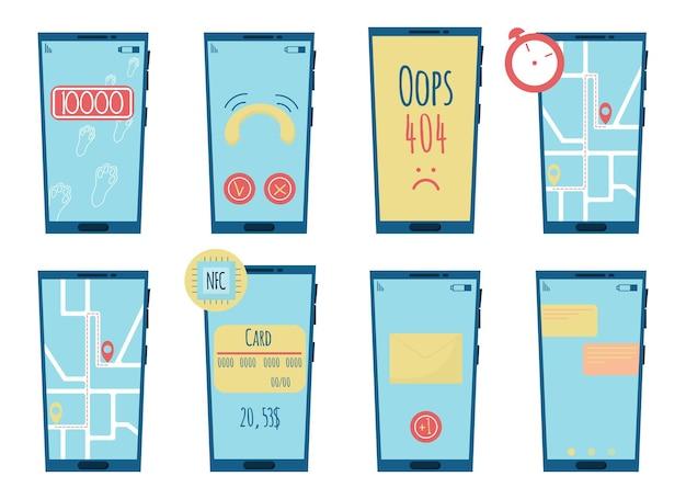 Vektor-set von telefonen mit screenshots anwendungen für telefone