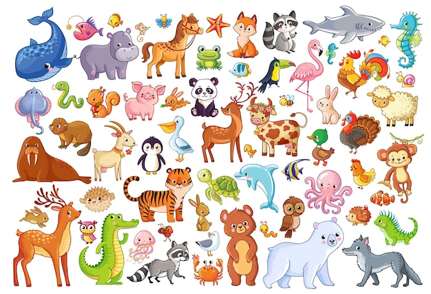 Vektor-set von tieren heimfavoriten säugetiere meereslebewesen illustration im cartoon-stil