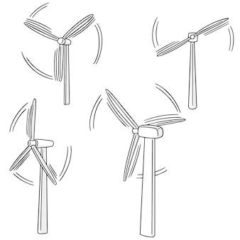 Vektor-set von windkraftanlagen