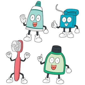 Vektor-set von zahnpflege-set