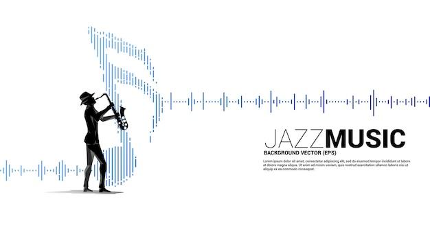 Vektor-silhouette des saxophonisten mit musiknote symbol schallwelle equalizer hintergrund. konzepthintergrund für jazzlied und konzertthema.