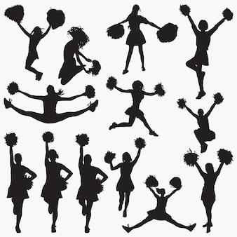 Vektor-silhouetten der cheerleader-1