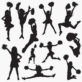 Vektor-silhouetten der cheerleader-2