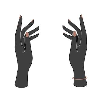 Vektor-silhouetten von frauenhänden mit maniküre auf weißem hintergrund. vektorillustration