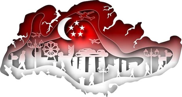 Vektor-singapur im papierkunststil. digitale kunst