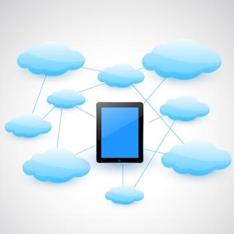 Vektor-smart-tablette mit wolken