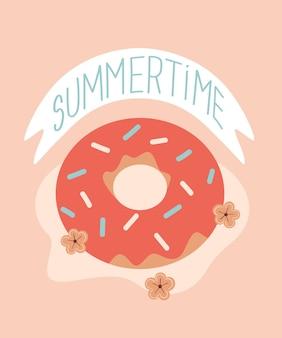 Vektor-sommer-cartoon-illustration mit donut-blumen und schriftzug