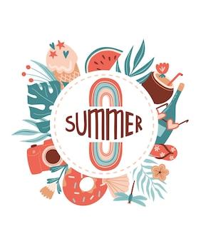Vektor-sommer-cartoon-illustration mit regenbogen-donut-fotokamera-cocktail-sonnenbrille und schriftzug