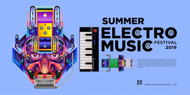 Vektor sommer electro musik festival banner design-vorlage