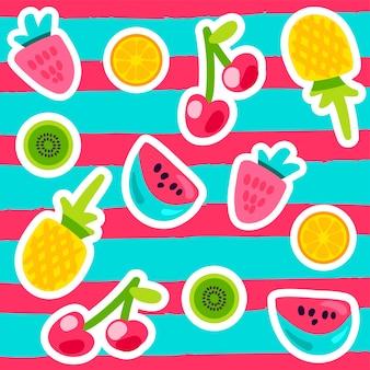 Vektor-sommer-frucht-muster im cartoon-stil. früchte und beeren. süße kulisse