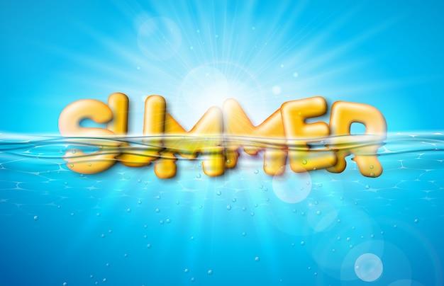 Vektor-sommer-illustration mit buchstaben der typografie 3d auf blauem unterwasserozean