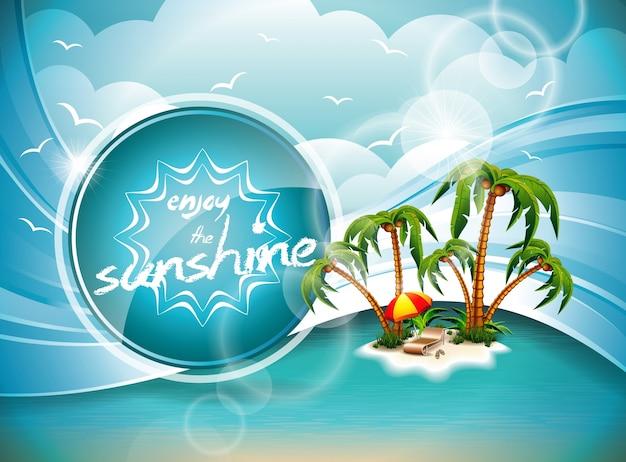 Vektor-sommerferien-flieger-design mit palmen und paradies-insel