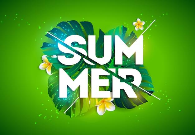 Vektor-sommerferien-illustration mit tropischen palmblättern