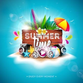 Vektor-sommerzeit-feiertags-illustration mit hölzernem brett und blume der weinlese