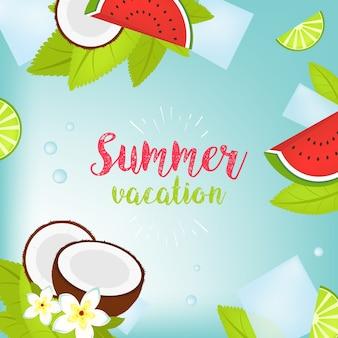 Vektor-sommerzeit feiertagstypografische illustration. tropische pflanzen, palmen, früchte, blumen. wassermelone, limette, kokosnuss und eiswürfel. mojito. eps 10 design.