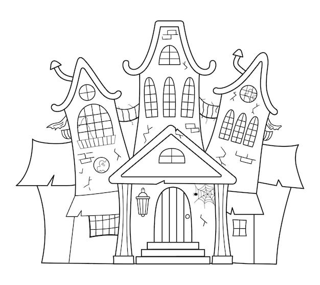 Vektor-spukhaus schwarz-weiß-darstellung. halloween gruselige hütte malvorlagen für kinder. gruselige samhain-partyeinladung oder kartendesign.