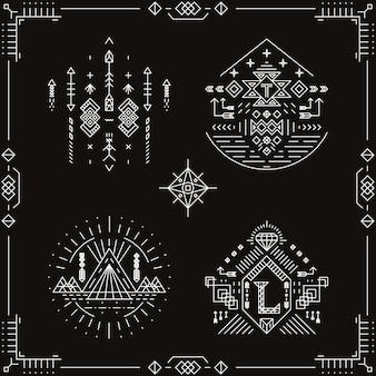 Vektor stammes ethnische elemente. musterverzierung, traditionelle trendige, gebürtige aztekische indische illustration