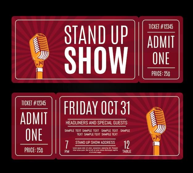 Vektor stehen oben showkarten mit retro- mikrofon auf sonnendurchbruchhintergrund. humor unterhaltung und illustration durchführen