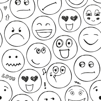 Vektor steht vor nahtlosem muster. emotionen, gekritzel, freihandzeichnungshintergrund. schwarz und weiß