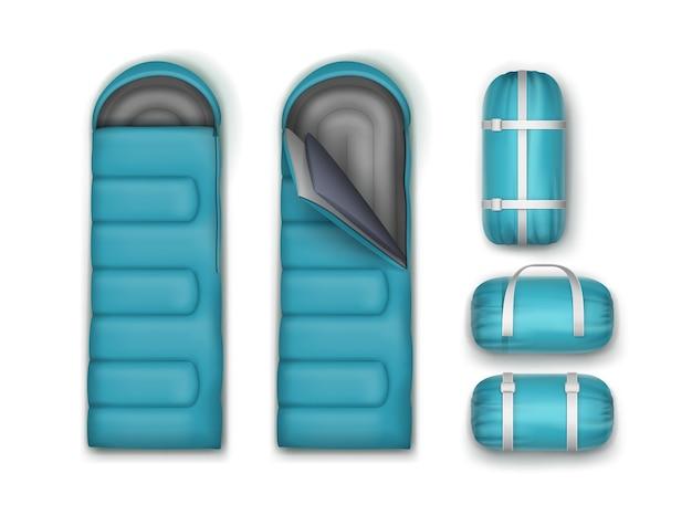 Vektor stellte hellblaue schlafsäcke lokalisiert auf weißem hintergrund ein