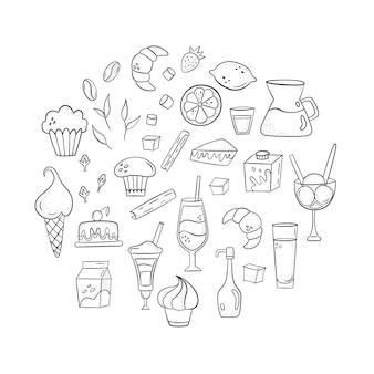 Vektor stellte mit kaffeezusätzen, nachtischen und getränken ein. handgezeichneten stil