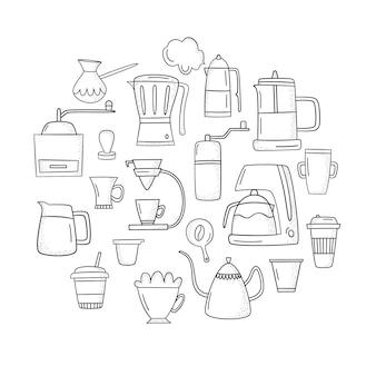 Vektor stellte mit zubehör und gegenständen für die zubereitung des kaffees ein. handgezeichneten stil