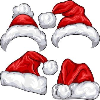 Vektor stellte rote weihnachtsmann-weihnachtsmannhüte lokalisiert auf weißem hintergrund ein