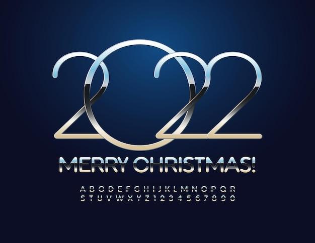 Vektor stilvolle grußkarte frohe weihnachten 2022 elegante silberne schrift alphabet buchstaben und zahlen