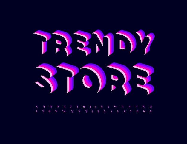 Vektor-stilvolles emblem trendy store mit abstrakten silbernen schriftart-eisen-alphabet-buchstaben und -zahlen-set