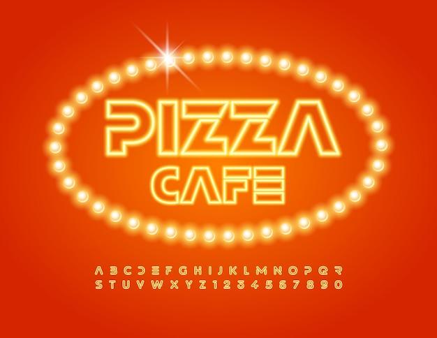 Vektor-stilvolles logo pizza cafe satz von gelben neon-alphabet-buchstaben und zahlen leuchtende lichtschrift