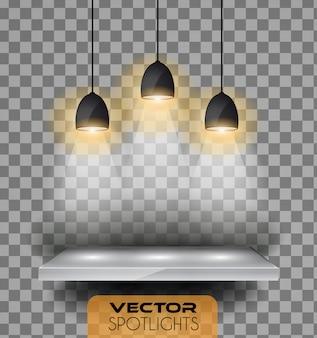 Vektor strahlt szene mit unterschiedlicher lichtquelle an, die auf den boden oder das regal zeigt.