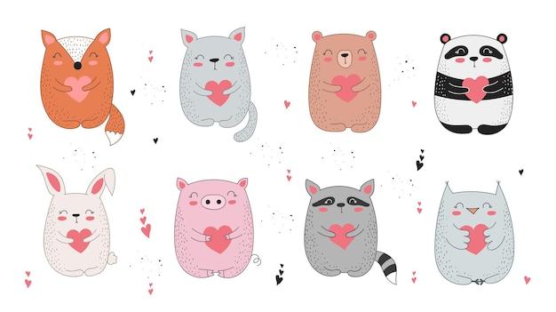 Vektor strichzeichnung poster mit niedlichen tier und herz doodle illustration valentinstag