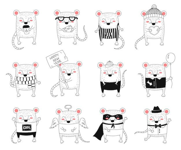 Vektor strichzeichnung süße ratten symbol des chinesischen kalenders