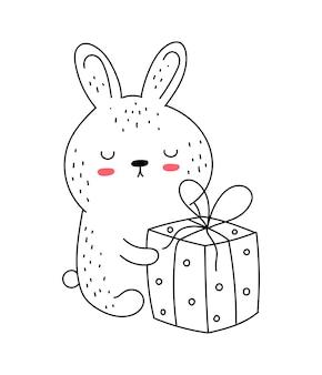Vektor strichzeichnung süßes kaninchen im overall doodle illustration ostern babyparty