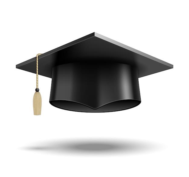 Vektor-studentenhut lokalisiert auf weiß