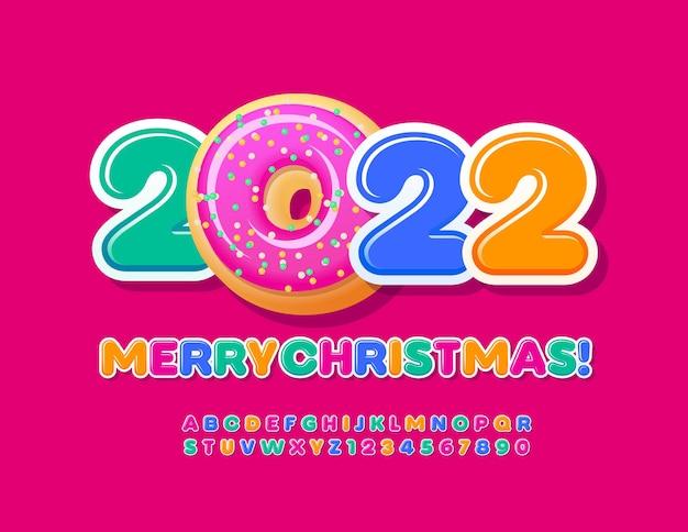 Vektor süße grußkarte frohe weihnachten 2022 leckere donut dekoration bunte alphabet set
