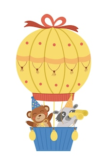 Vektor süßer bär und waschbär im heißluftballon lustige geburtstagstiere