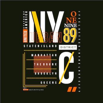 Vektor-t-shirt-design des nyc-textrahmens grafische