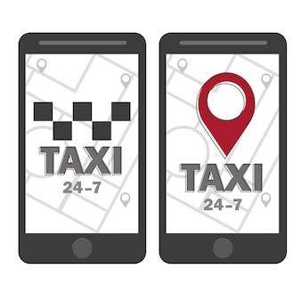 Vektor-taxi-symbol. karten-pin mit taxi-check-zeichen. vektor-illustration - linienstil