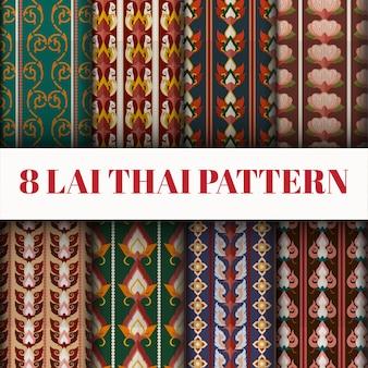 Vektor thailändischen stil musterset