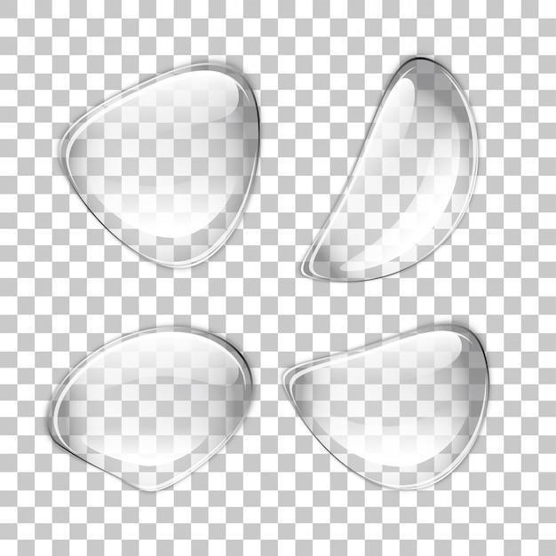 Vektor transparente tropfen. eine reihe von blasen in verschiedenen formen