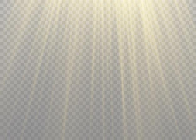 Vektor transparentes sonnenlicht spezielle linse blitzlichteffekt. front sonnenlinse blitz.