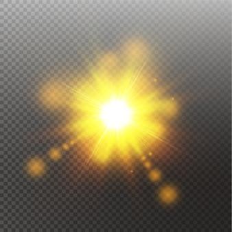 Vektor transparentes sonnenlicht spezielle linse flare lichteffekt. sonne isoliert. glühlichteffekt