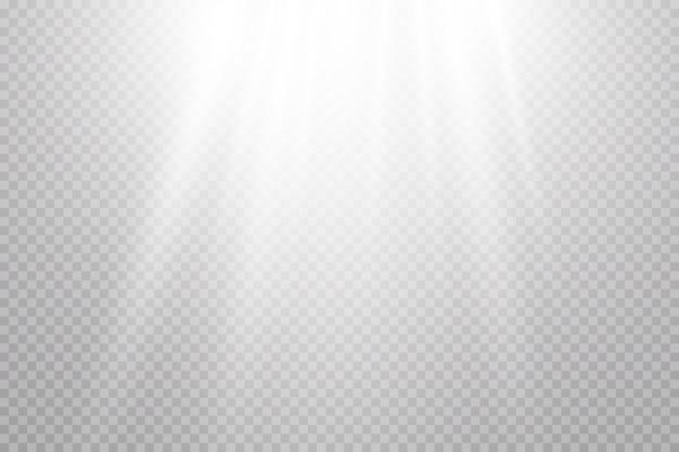 Vektor transparentes sonnenlicht. spezielle linseneruption. sonnenstrahlen.