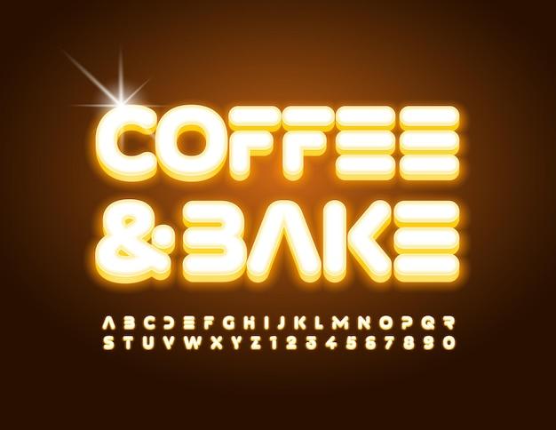 Vektor trendige banner kaffee und backen moderne elektrische schrift gelbe alphabet buchstaben und zahlen gesetzt
