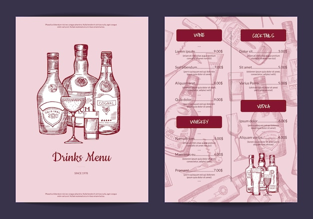 Vektor trinkt menüschablone für bar, café oder restaurant mit hand gezeichneter alkoholgetränkflaschen- und -glasillustration